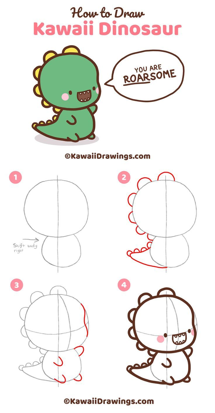 Step By Step Drawing Tutorial To Draw Cute And Easy Kawaii Dinosaur This Drawing Shows How To Dr Easy Doodles Drawings Cartoon Drawings Easy Cartoon Drawings