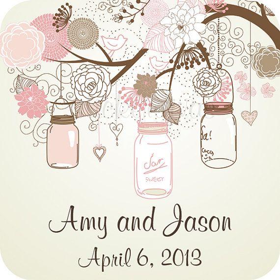 Wedding Labels Personalized Mason Jars on Tree by StickerDivas
