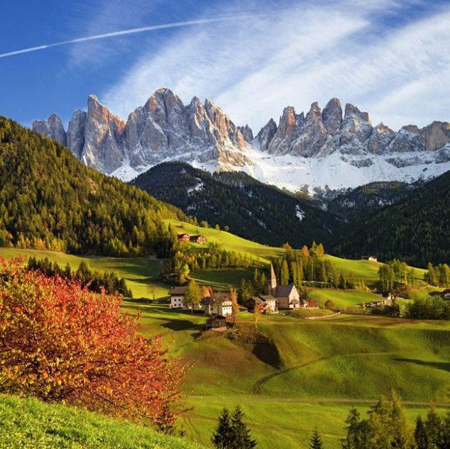 """Santa Maddalena, Italy      ~ ~ ~ Visit the Most Beautiful Villages in Europe  ~ ~ """"The Odle mountain peaks and the church of Santa Maddalena are the symbols of the Val di Funes... according to... legend, this is the place where the miraculous image of Santa Maddalena was washed up by the Fopal river... (This venue) is one of the most popular photo motifs of the Dolomites (NE Italy)."""""""