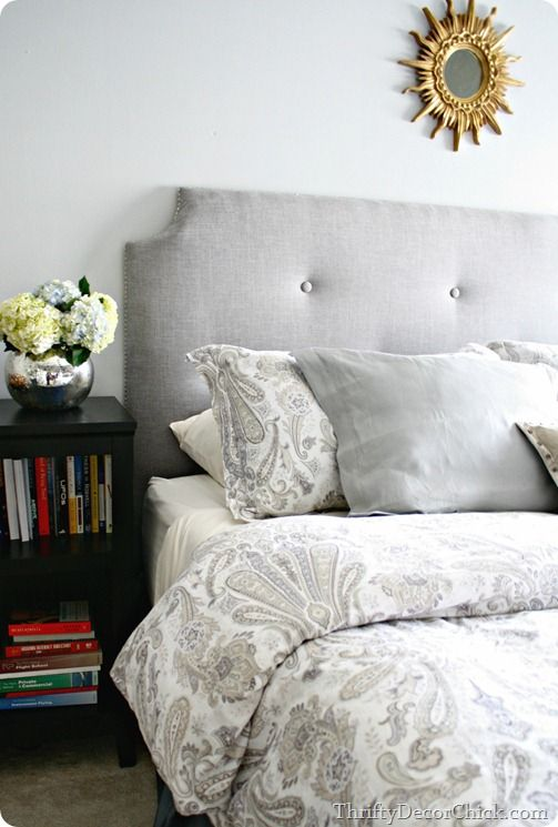A #DIY headboard with a full tutorial! Check it out! @Jenny @My Nearly Empty Nest I like this color and style