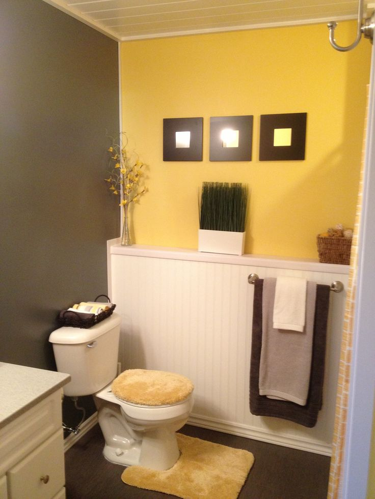 Grey and yellow bathroom ideas half bath pinterest for Brown and white bathroom accessories