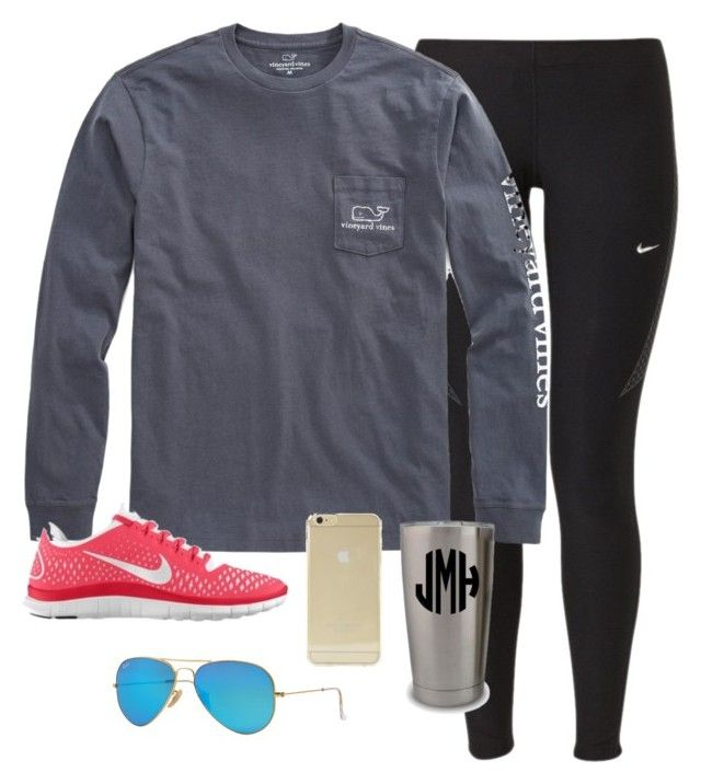 """OOTD"" by prep-lover1 ❤ liked on Polyvore featuring NIKE, Vineyard Vines, Ray-Ban and Sonix"