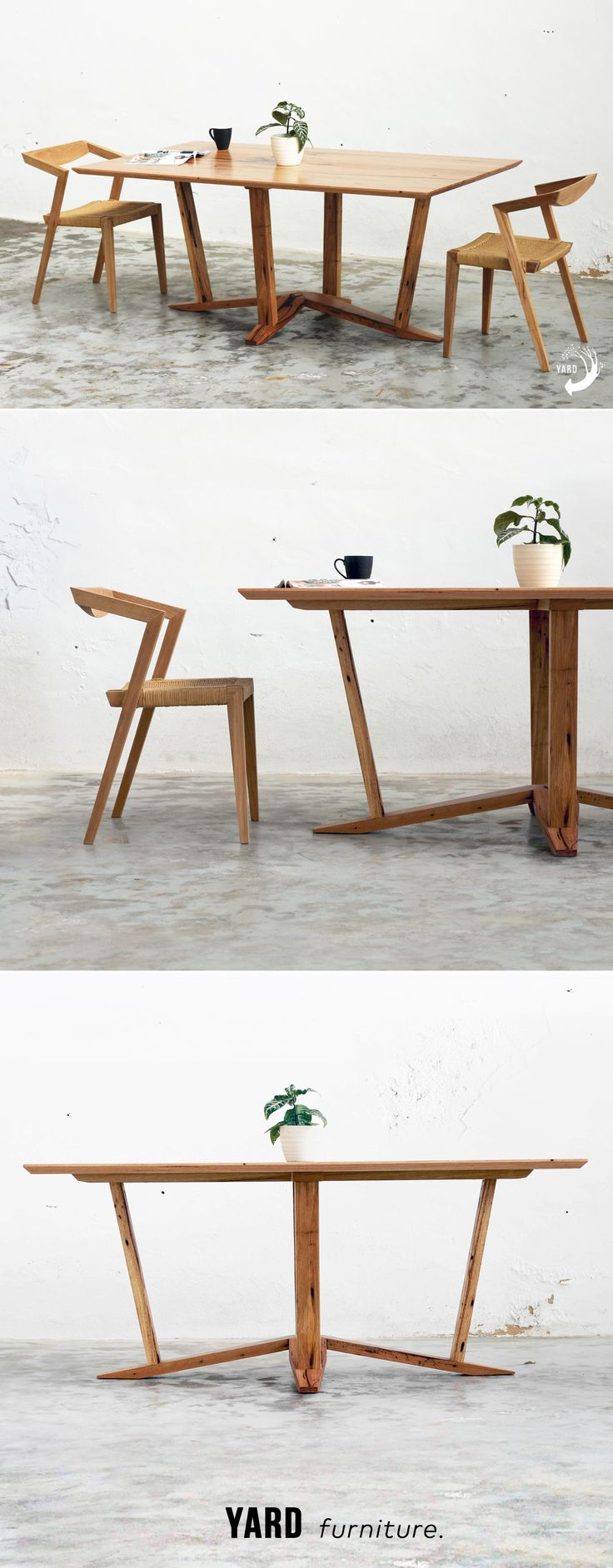 YARD furniture, custom made Lotus Dining Table from recycled, salvaged hardwoods. Made in Melbourne. Modernist and minimalist influences.