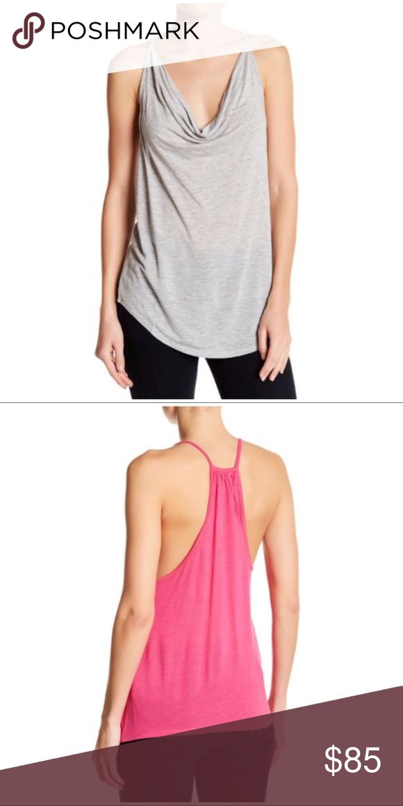 """COMING SOON Haute Hippie Cowl Neck Racerback Tank Temporary stock photos from Nordstrom. Details and photos of actual item coming soon. The rear view shows this top in pink, but the top is light gray. Also see this top in black and pink in my closet. Like this listing to be notified when it's available (via price drop).  Details - Cowl neck - Spaghetti straps - Slips on over head - Racerback - Approx. 27.5"""" length (size S) 100% modal Hand wash cold Haute Hippie Tops Tank Tops"""
