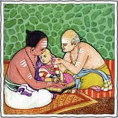 Karnavedha – Ear Piercing. The ear-piercing ceremony, given to both boys and girls, performed in the temple or the home, generally on the child's first birthday. Health and wealth benefits derive from this ancient rite.