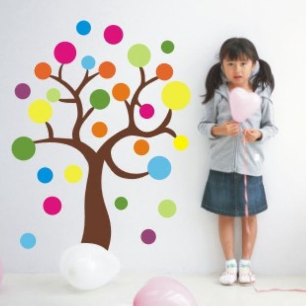 Kindergarten classroom wall decoration sticker maps colorful circle combination trees do class - Classroom wall decor ...
