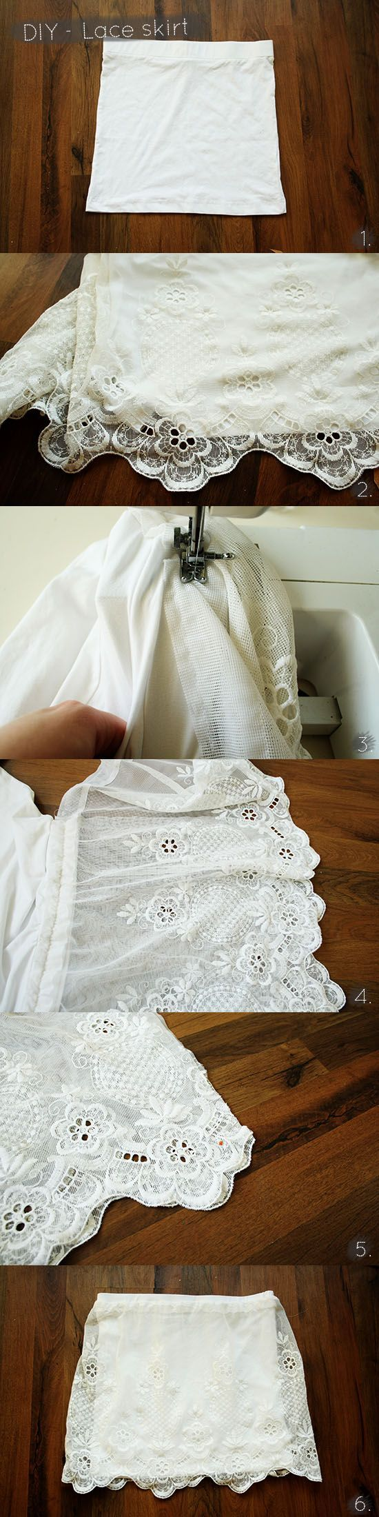 DIY ~~ A tutorial on how to create a lace skirt from lace curtains from the thrift store @ By Wilma