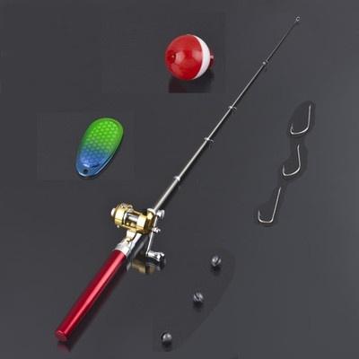 Travel Mini Pocket Fishing Tackle Pen Rod Pole +Reel Combos red USA seller | eBay