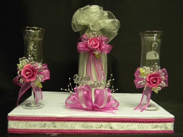 Decoracion de copas para quinceanera set cencillo de - Copas decoradas con velas ...