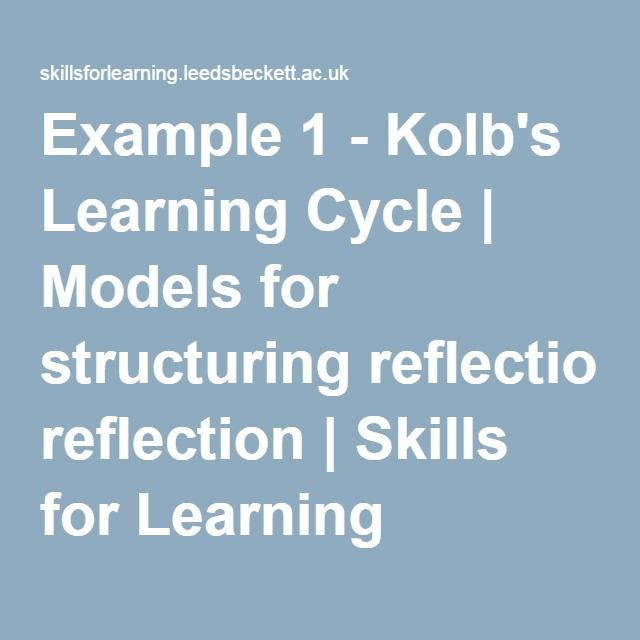 Kolb's Model reflection - this goes on to explain other reflective practice theories. See further pins regarding Kolb's Reflective Cycles - together they provide a broad range or concepts and questions to guide reflective practice.