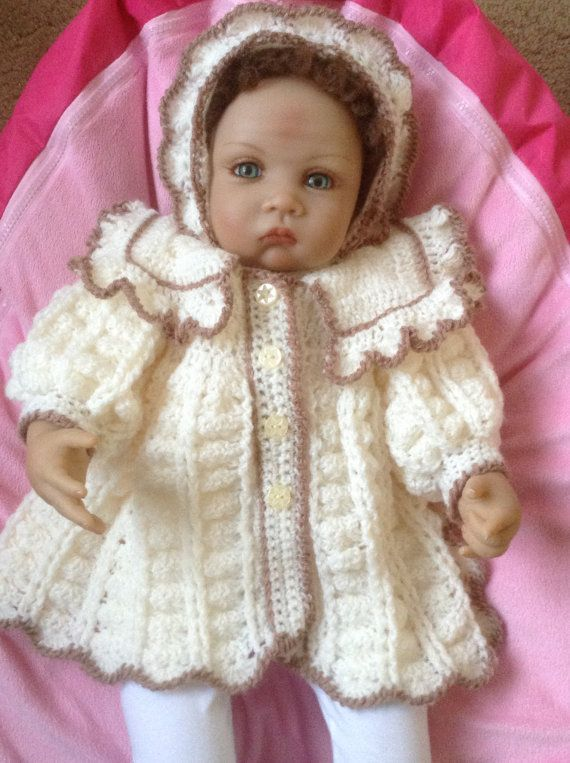 Crochet Matinee Coat and Bonnet Set in Cream by Meganknits4charity