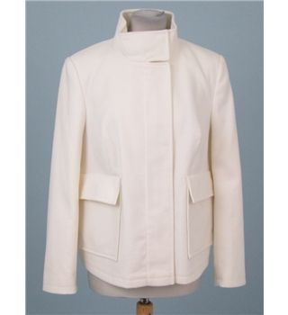 This is a luxuriously soft jacket from M&S Collection in 'winter white'. The jacket comes new without tags and has a highly soft feel to it and has some stretch for a comfortable fit. The jacket fastens with a gold zip up the front which is concealed by poppers