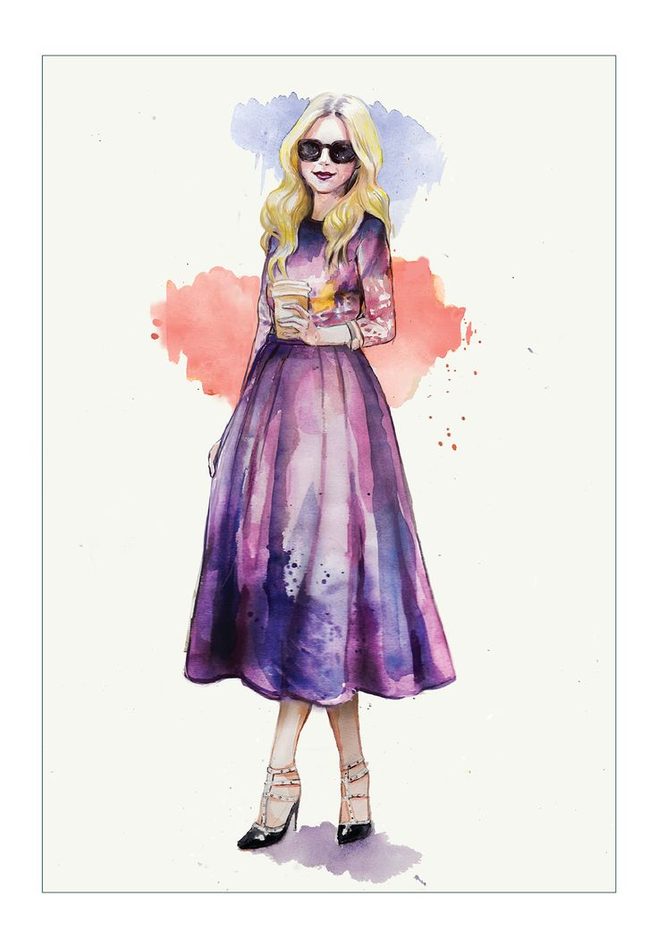 """Purple look"" by Nina Sibiratkina. watercolor.   #purpledress  #coffeelook  #fashionillustration  #ninasibir"