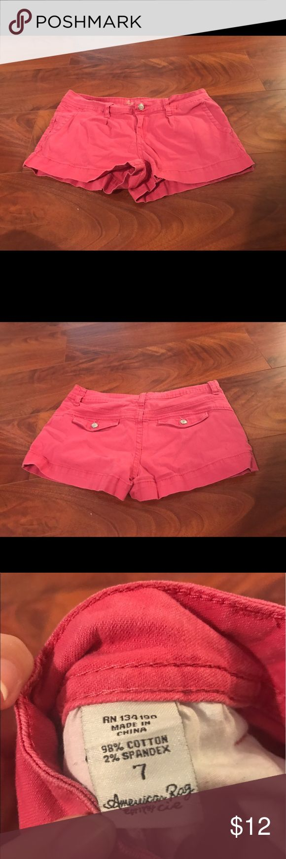 American Rag Pink Chino Shorts American Rag Pink Chino Shorts with Button Flap back pocket detail American Rag Shorts Jean Shorts