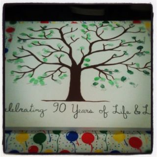 """celebrating 90 years of life and love"" ... I made this for my grandmother's 90th birthday party. Family members and friends made the leaves with their thumbprints."