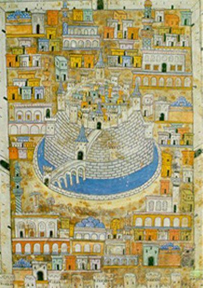 Haleb Şehri ve Kalesinin resmi. (Matrakçı Nasuh'un eseri)