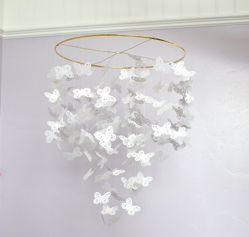 Baby Nursery : DIY Handmade Butterfly Chandelier Or Baby Mobile