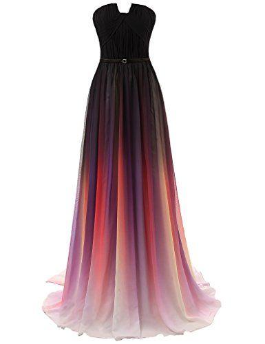 JAEDEN Women's Gradient Chiffon Formal Evening Dresses Long Party Prom Gown