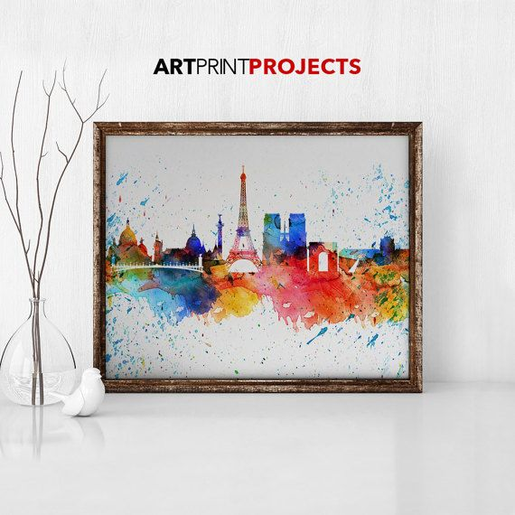 Paris watercolor print Paris watercolor poster by ArtPrintProjects
