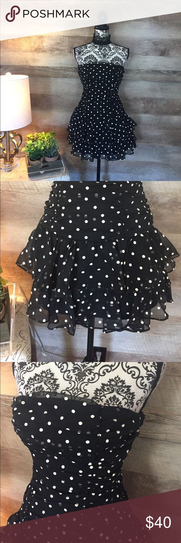 Polka Dot Strapless 80's Style Dress Size 8. BUT RUNS SMALL! By Heidi J. Black with white polka dots. Lined. Zip up back. ZIPPER WORKS FINE just didn't fit my mannequin. 100% polyester. Strapless. Layered ruffles. Because it Runs SMALL be sure to ask for measurements. Dresses Mini