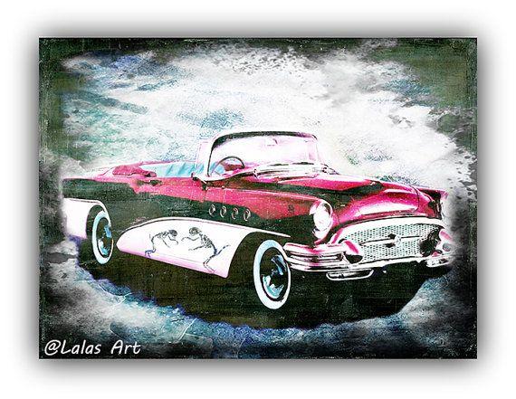 Vintage Retro Style Art Old-timer Pink  Buick Car by LalasArtWorld