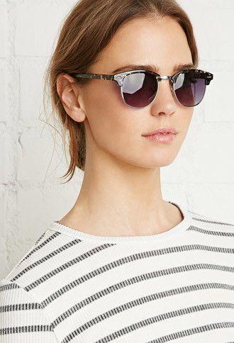 Round Browline Sunglasses | Forever 21 - 1000142247