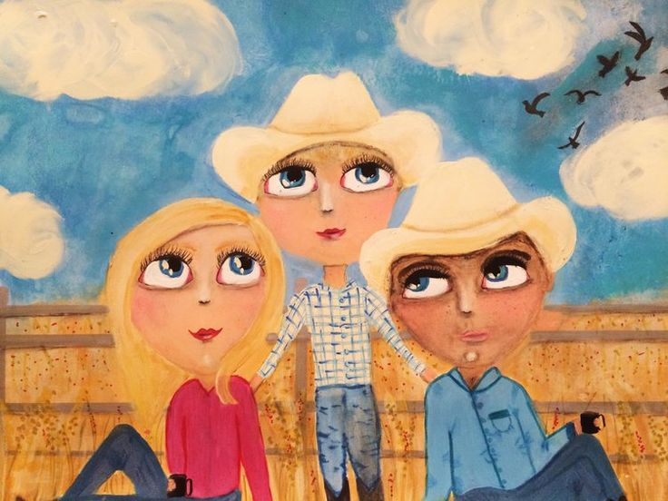 I was asked to do a piece to celebrate one ladies love of her beautiful grandson. The request was to show her grandbaby with his parents at smoko time in the cattle yards!