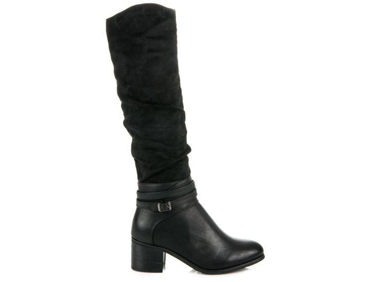 Čierne čižmy po kolená CASUAL