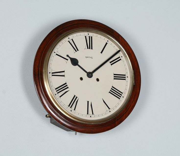 """Antique 15"""" Mahogany Smiths Railway Station / School Round Dial Wall Clock (Chiming / Chimer / Striking / Striker) by YolaGrayAntiques on Etsy"""