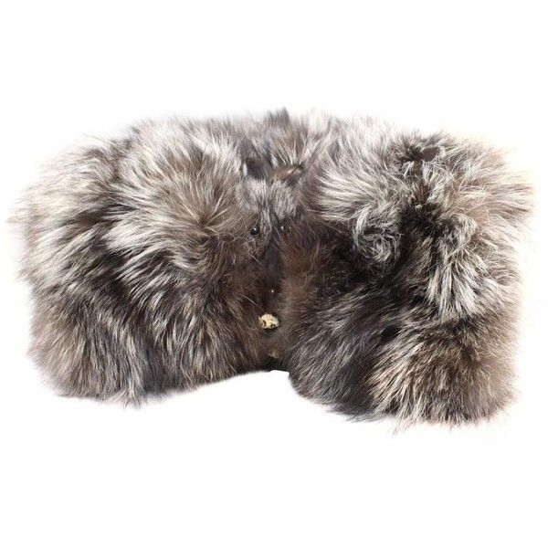 Preowned Large Big Silver Fox Hands Muff / Gloves ($515) ❤ liked on Polyvore featuring accessories, gloves, silver, fox gloves, vintage gloves and silver gloves