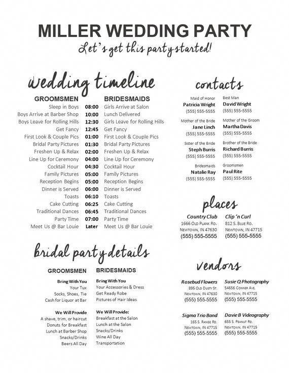 fully editable wedding timeline edit in word phone numbers and