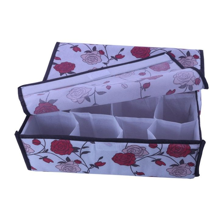 Printing Rose 16 Cell Sokken Stropdassen Drawer Closet Organizer Opbergdoos met soft cover(China (Mainland))
