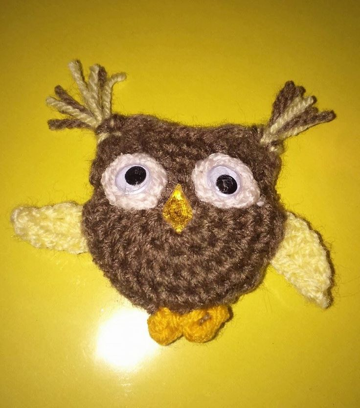 Cute owl brooch-handmade by BickersCrochetCuties on Etsy