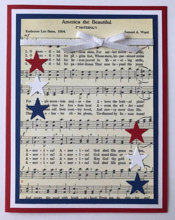 Handmade 4th Of July A2 Card America The Beautiful Red White Blue Patriotic Usa Happy Fourth Of July Independence Day Happy Fourth Of July Military Cards Ribbon Cards