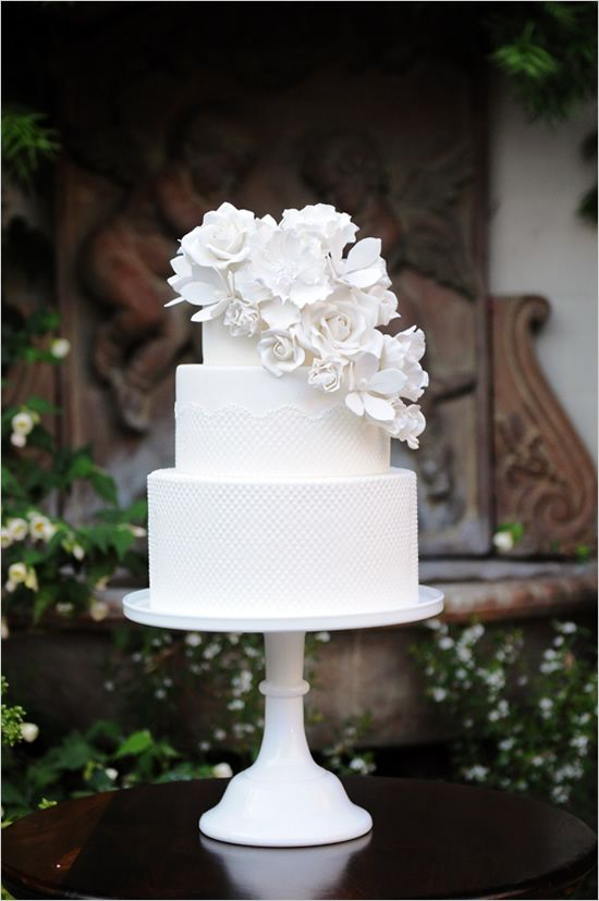 elegant white wedding cake by Sweet & Saucy Shop: