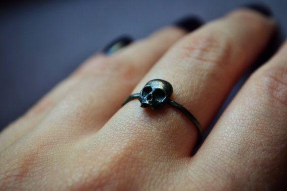 Gothic Skull Ring, Stacking Sterling Silver Goth Punk Jewelry Skeleton Ring Unisex Mens Ring ''Memento Mori''