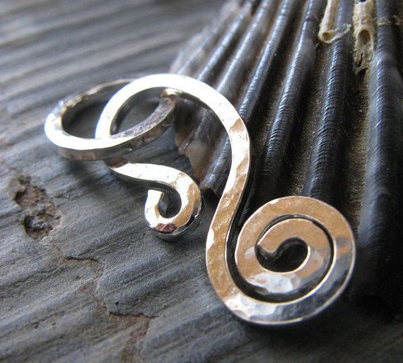 AGB artisan jewelry findings handmade sterling silver, oxidized sterling silver or 14k gold filled strong spiral clasp set Callidora. Handmade by Etsy seller AtlantisGlassandBead.