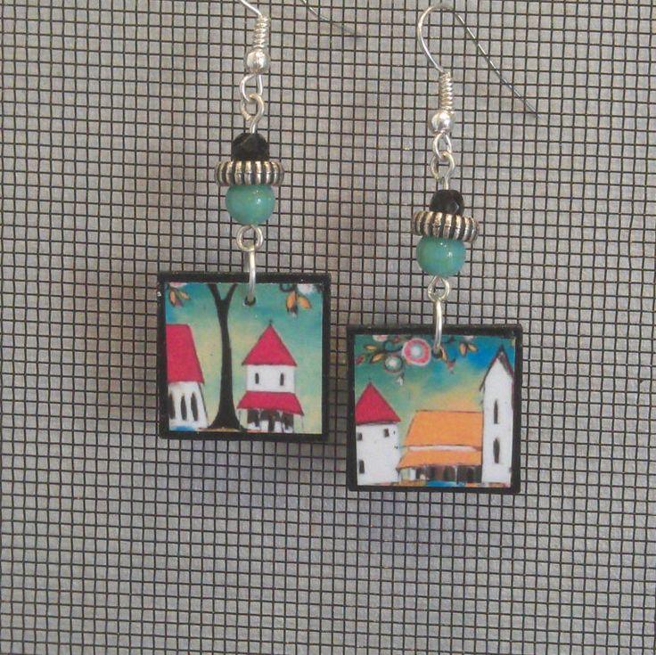 Decoupage Folk Art Square Earrings by GreyShackStudio on Etsy