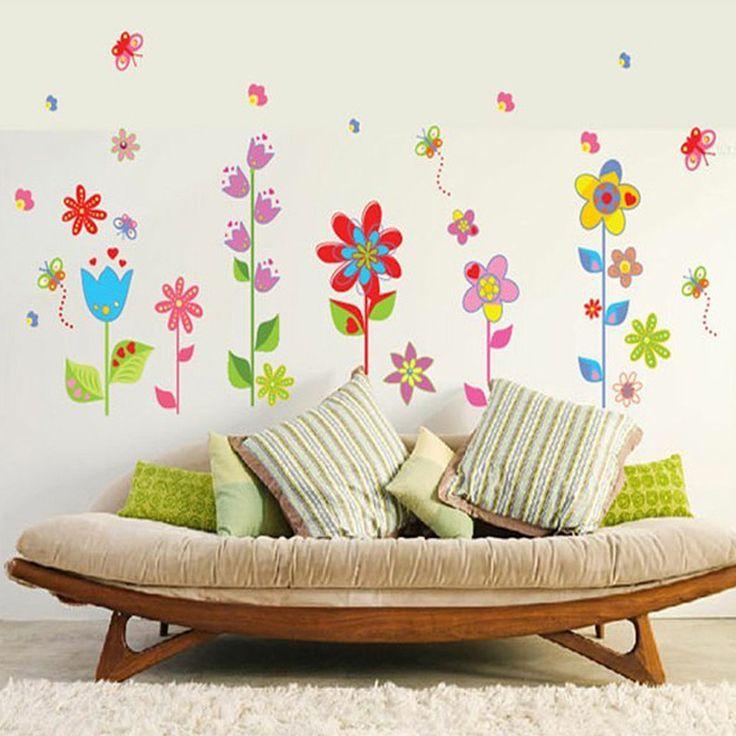 Virágoskert pillangókkal falmatrica.  #virág #kert  #gyerekszobafalmatrica…