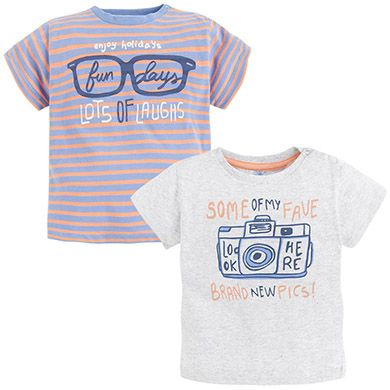 Set de camisetas de rayas y lisa con manga corta Gris vigoré