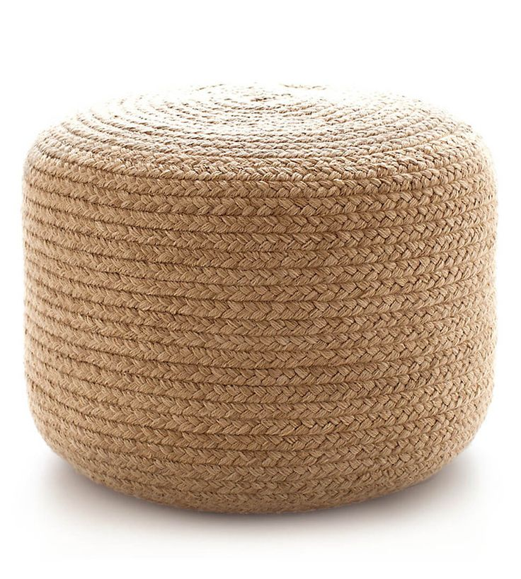 Dash and Albert Braided Natural Indoor/Outdoor Pouf  A pouf that's a natural as extra seating, an accent table, or an ottoman. Organic beauty suffuses the Fresh American Braided Natural Indoor/Outdoor Pouf fashioned from braided rope. As durable as it is practical, the pouf is made of eco-friendly PET (recycled polyester). The natural coloration blends seamlessly with decors of bold tones or barely-there neutrals.