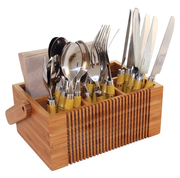 10 images about flatware caddy on pinterest rustic wood for Silverware storage no drawers