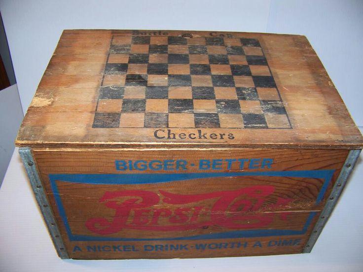 Vintage Wooden Coca-Cola and Pepsi-cola Boxes