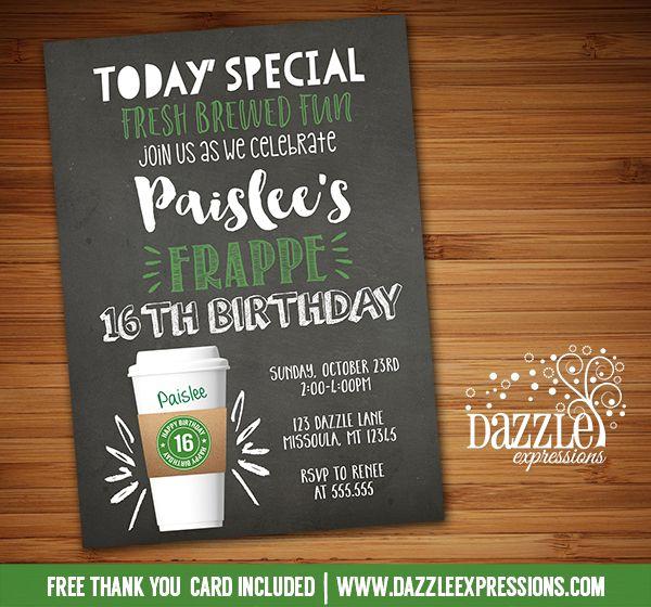 Free Birthday Starbucks ~ Printable chalkboard coffee latte birthday invitation inspired starbucks party frappe