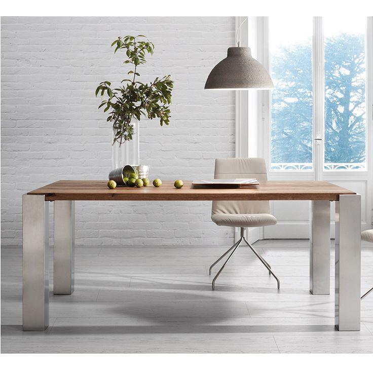 Mesa de comedor · Dining Table Bruna disponible en varias medidas, en roble macizo acabado envejecido y pies recubiertos de acero inoxidable. De diseño industrial. #ArmonySpaceBCN