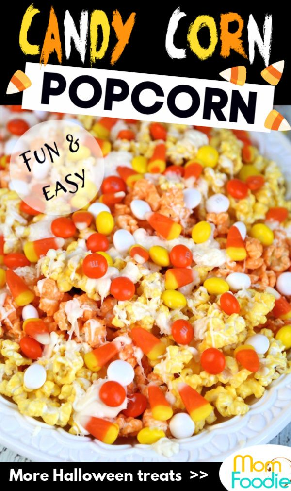 Easy candy corn popcorn recipe with white chocolate, candy