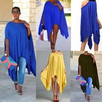 Wish | Women Sexy Loose Batwing Mini Dress Casual Long Top Asymmetric Cape Tunic Poncho
