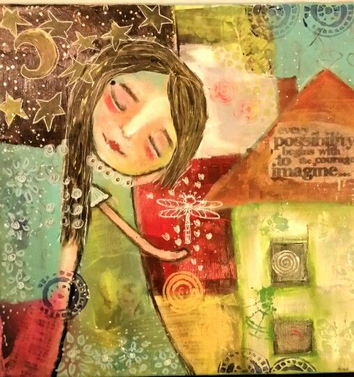 """Follow your dreams "". Acrylic and prismacolor pencils on canvas, 30x30. Part 1."