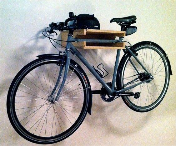 to hang you bike while also adding a space to store your helmet, gloves, glasses, tubes etc