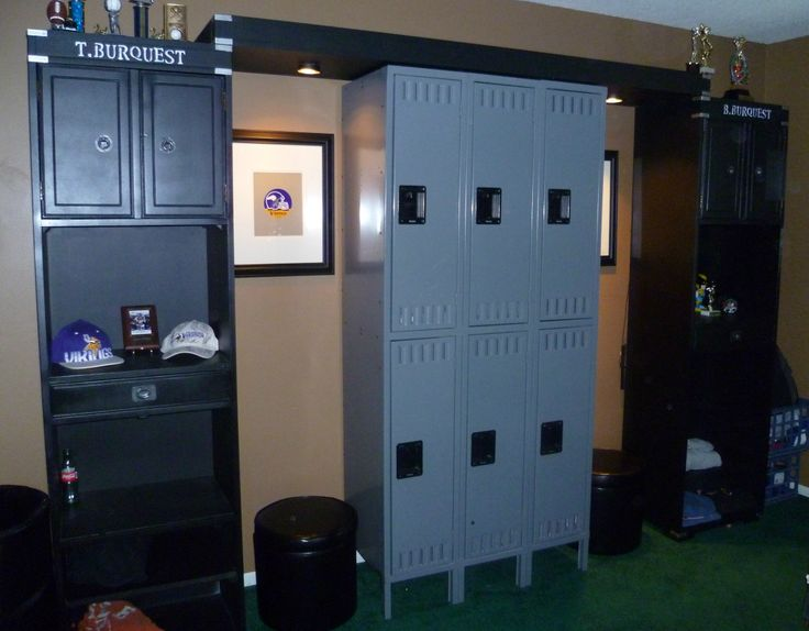 She Added Lockers Between Tow Pieces Of An Entertainment Center To Create A Wall Storage For Her Boys Store Video Games